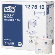 Tork 127510 T6 extra weiches Midi Toilettenpapier Premium 3-lagig 70mx10cm 27 Rollen