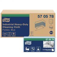 Tork 570578 W4 Extra Starke Industrie Reinigungstücher 1-lagig, 5 x 65 Tücher, 36x43 Blau
