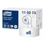 Tork 110273 T1 weiches Jumbo Toilettenpapier 2-lagig 360m Premium 6 Rollen weiß