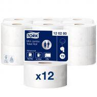 Tork 120280 T2 Mini Jumbo Toilettenpapier 2-lagig 170m 850 Blatt 12 Rollen weiß Advanced